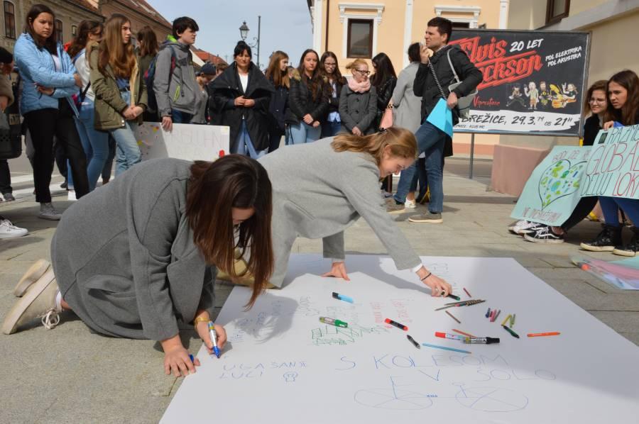 Mladi na protestu v Brežicah opozorili na okoljsko in podnebno pravičnost